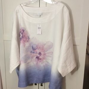 Pure J Jill XL Linen Watercolored Floral Print Top